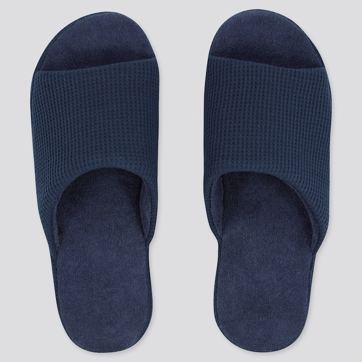Waffle Open-Toe Slippers, Navy, Large