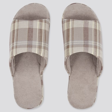 Linen Open-Toe Rubber-Soled Slippers, Beige, Medium