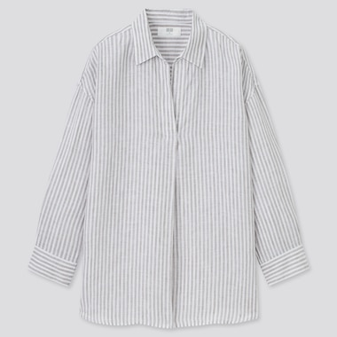 Women 100% Premium Linen Skipper Collar Striped 3/4 Sleeved Shirt