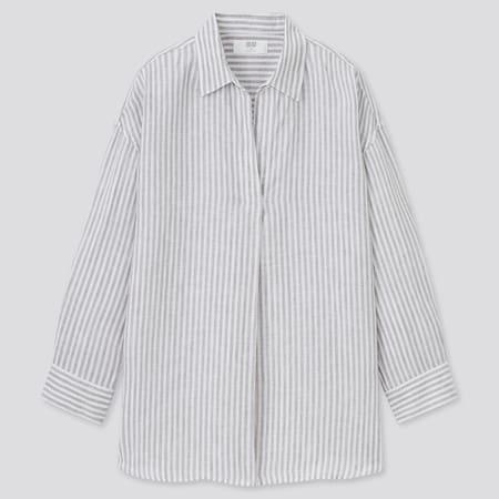 Women 100% Premium Linen Skipper Collar Striped 3/4 Sleeved Shirt
