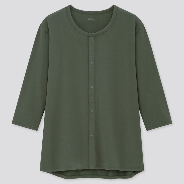 Men Airism Front-Opening Crew Neck Long-Sleeve T-Shirt, Dark Green, Large