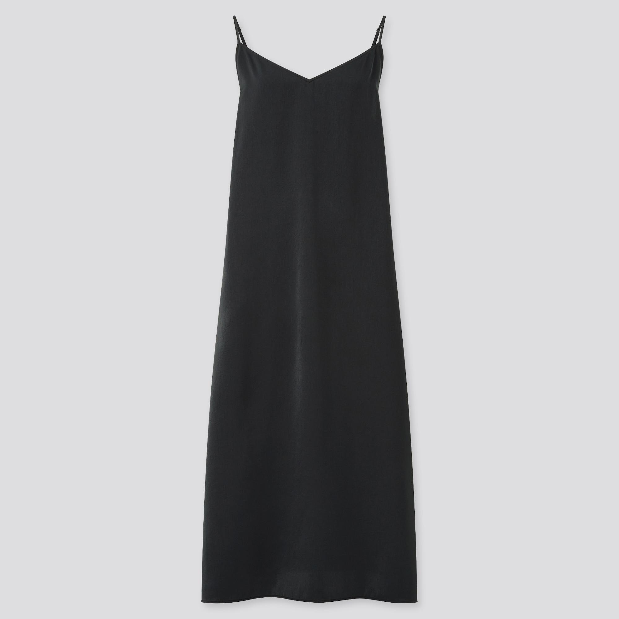 WOMEN CAMISOLE SIDE-SLIT LONG DRESS