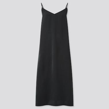 Women Camisole Side-Slit Long Dress, Black, Medium