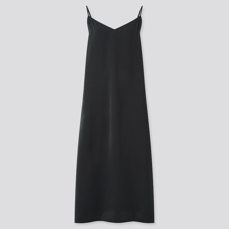 Women Camisole Side-Slit Long Dress, Black, Large