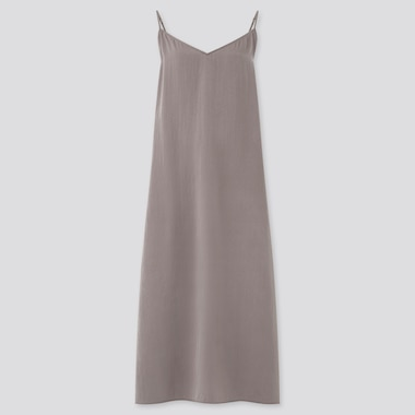 Women Camisole Side-Slit Long Dress, Brown, Medium