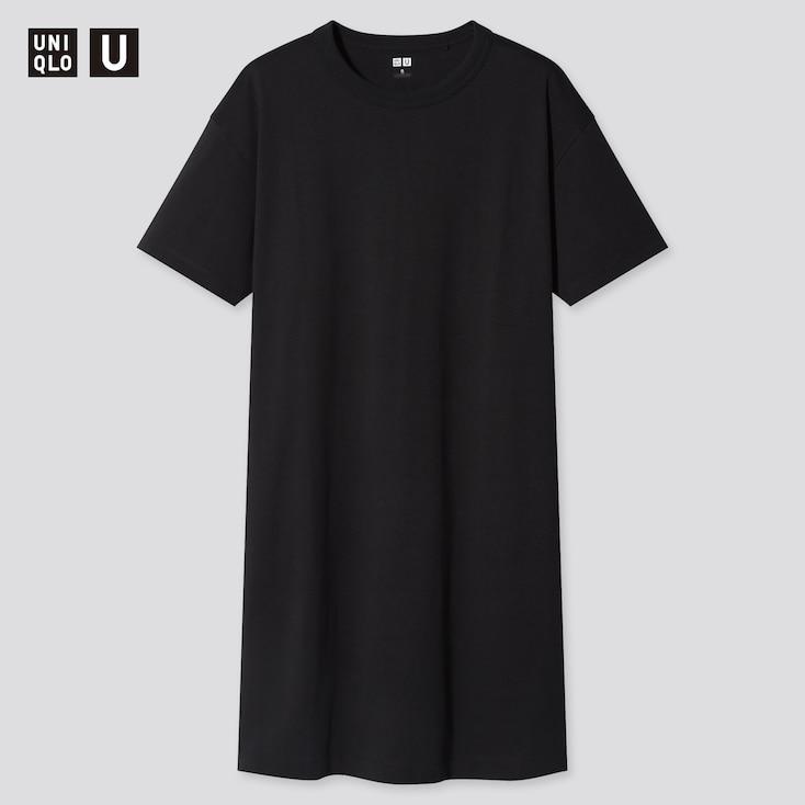 Women U Crew Neck Short-Sleeve T-Shirt Dress, Black, Large