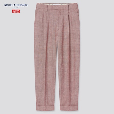 Women Linen Cotton Tucked Tapered Pants (Ines De La Fressange), Red, Medium