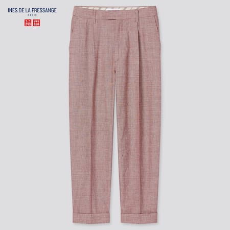 Women Ines Linen Cotton Blend Tucked Checked Tapered Fit Trousers