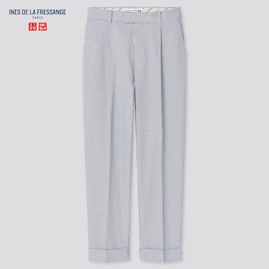 Women Ines Cotton Tucked Checked Tapered Fit Trousers