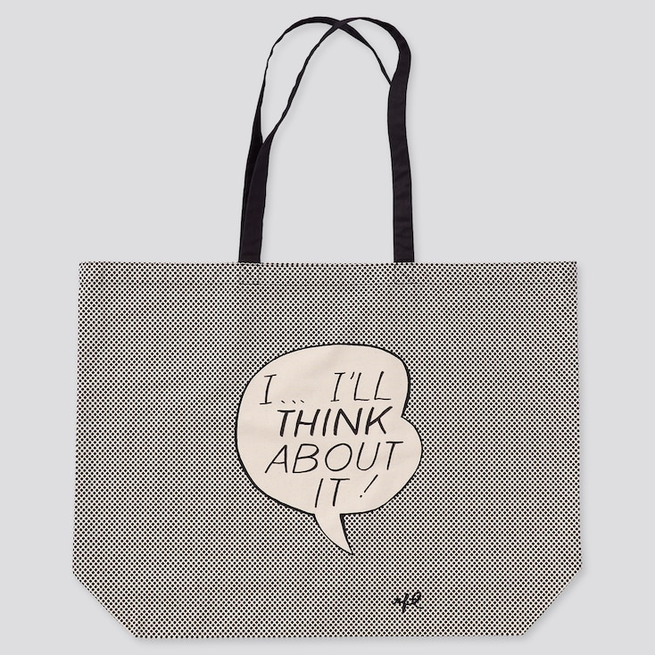 Large Eco-Friendly Printed Tote Bag (Roy Lichtenstein), Off White, Large