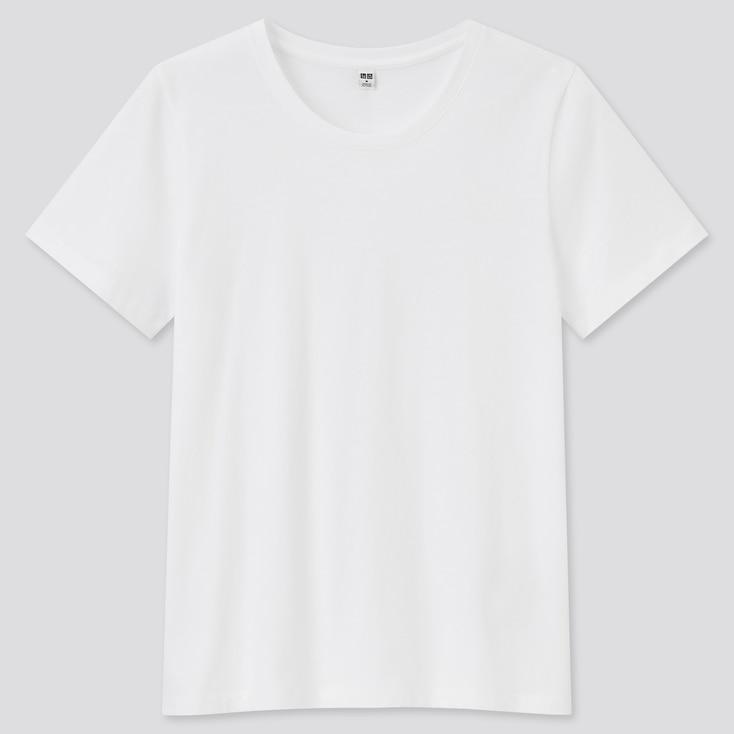 Women Supima Cotton Crew Neck Short-Sleeve T-Shirt, White, Large