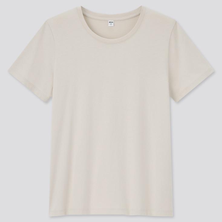Women Supima Cotton Crew Neck Short-Sleeve T-Shirt, Natural, Large