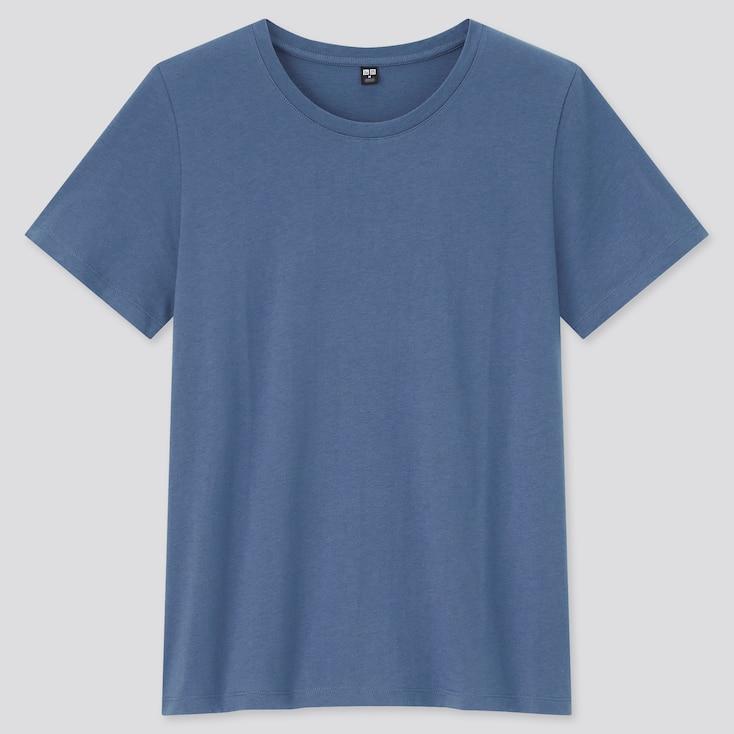 Women Supima Cotton Crew Neck Short-Sleeve T-Shirt, Blue, Large