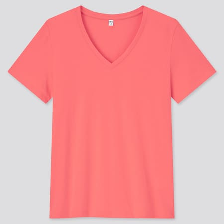 Damen 100% SUPIMA BAUMWOLLE T-Shirt mit V-Ausschnitt