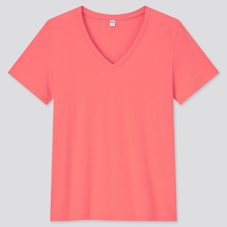 Women Supima Cotton V-Neck Short-Sleeve T-Shirt, Orange, Large