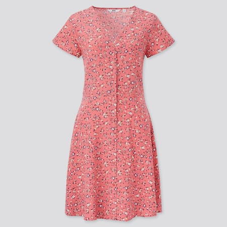 Damen Weites gemustertes kurzärmliges Kleid mit V-Ausschnitt