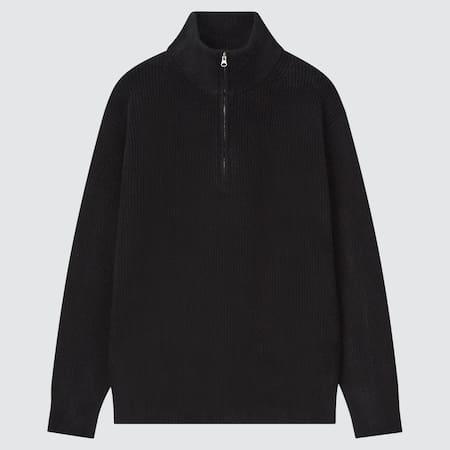 Men Soft Soufflé Knit Middle Gauge Half-Zipped Jumper