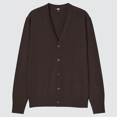 Men 100% Extra Fine Merino V Neck Cardigan