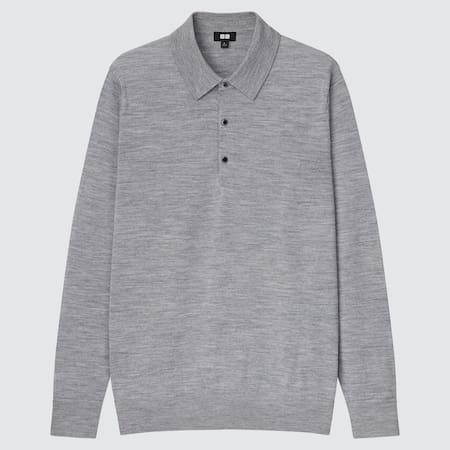 Herren Langärmliges 100% Extra feine Merinowolle Poloshirt