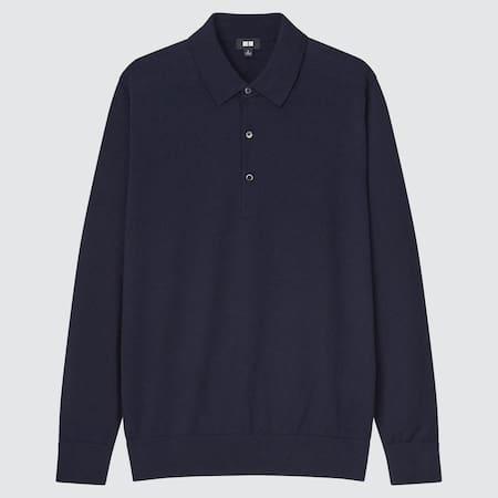 Men 100% Extra Fine Merino Knit Long Sleeved Polo Shirt