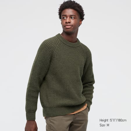 Pull Maille Côtelée Col Rond Homme