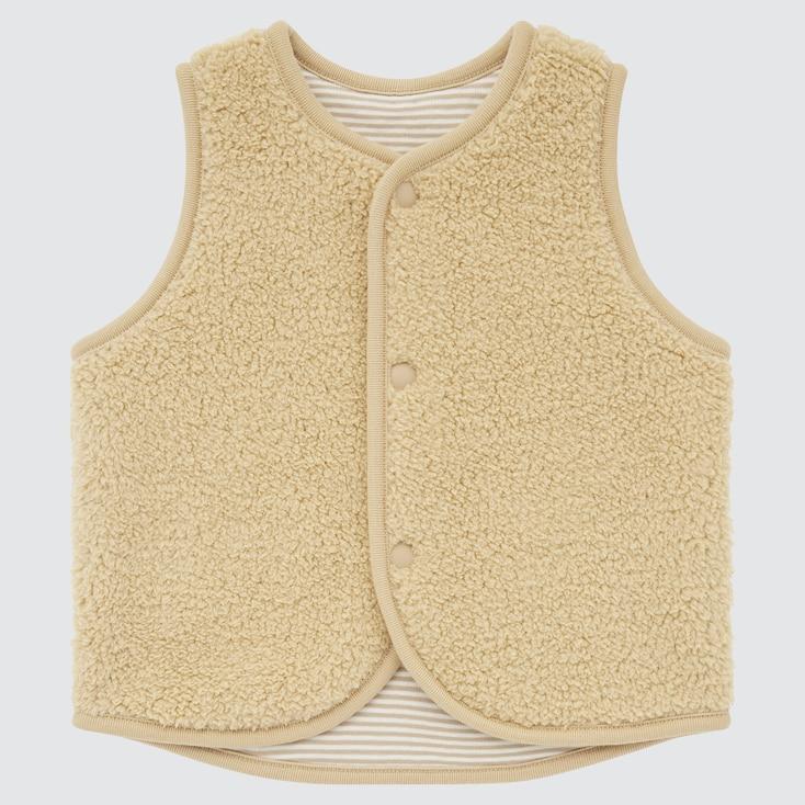 Newborn Pile-Lined Reversible Fleece Vest, Beige, Large