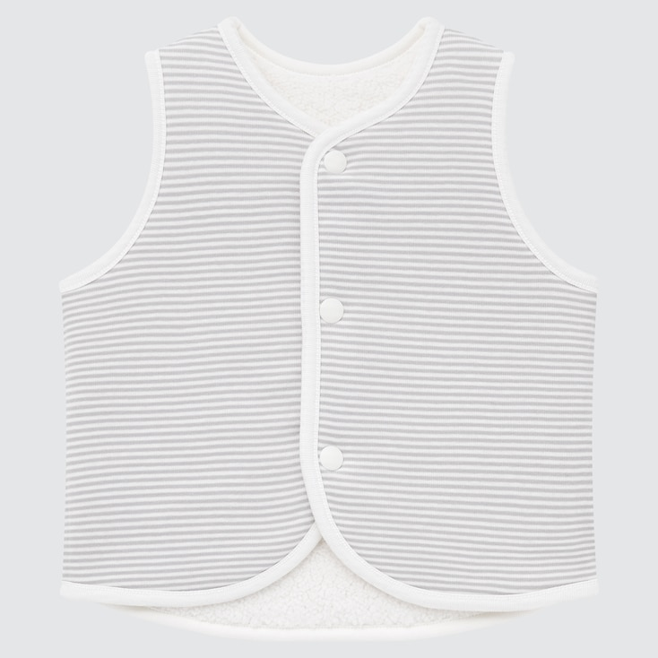 Newborn Pile-Lined Reversible Fleece Vest, Off White, Large