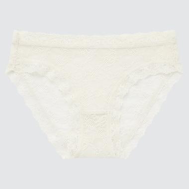 Women Lace Bikini, Off White, Medium