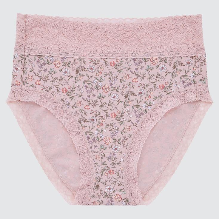 Women Flower High-Rise Briefs, Pink, Large