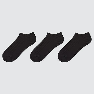 Women Ribbed Short Socks (3 Pairs), Black, Medium