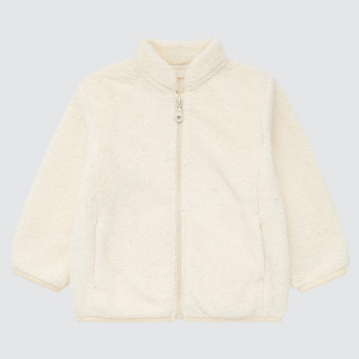 Toddler Fluffy Yarn Fleece Full-Zip Jacket, Off White, Large