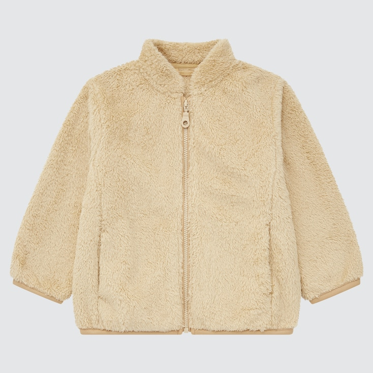 Toddler Fluffy Yarn Fleece Full-Zip Jacket, Beige, Large