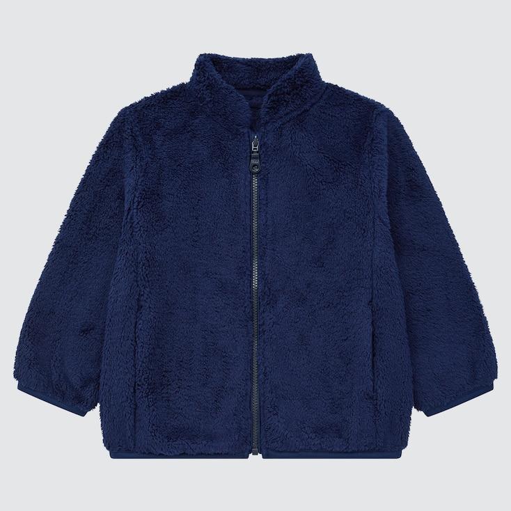 Toddler Fluffy Yarn Fleece Full-Zip Jacket, Navy, Large