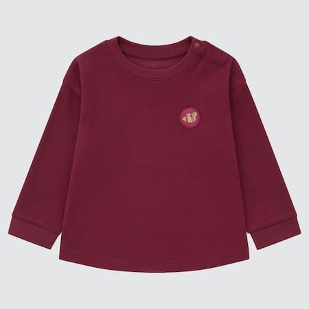 T-Shirt Cotone Soft Touch Girocollo Maniche Lunghe Neonato Bambino