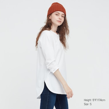 WOMEN Smooth Cotton Shirttail Hem Long Sleeve T