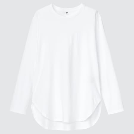 Damen Baumwoll Langarmshirt mit rundem Saum