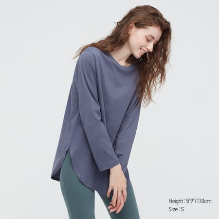 Women Smooth Cotton Longline Long Sleeved Top