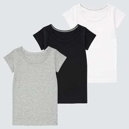 Babies Toddler Cotton Short Sleeved T-Shirt (Three Pack)