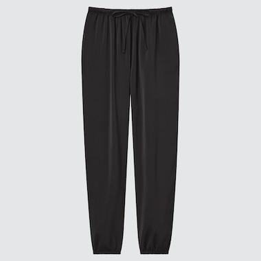 Women Satin Drape Jogger Pants, Black, Medium