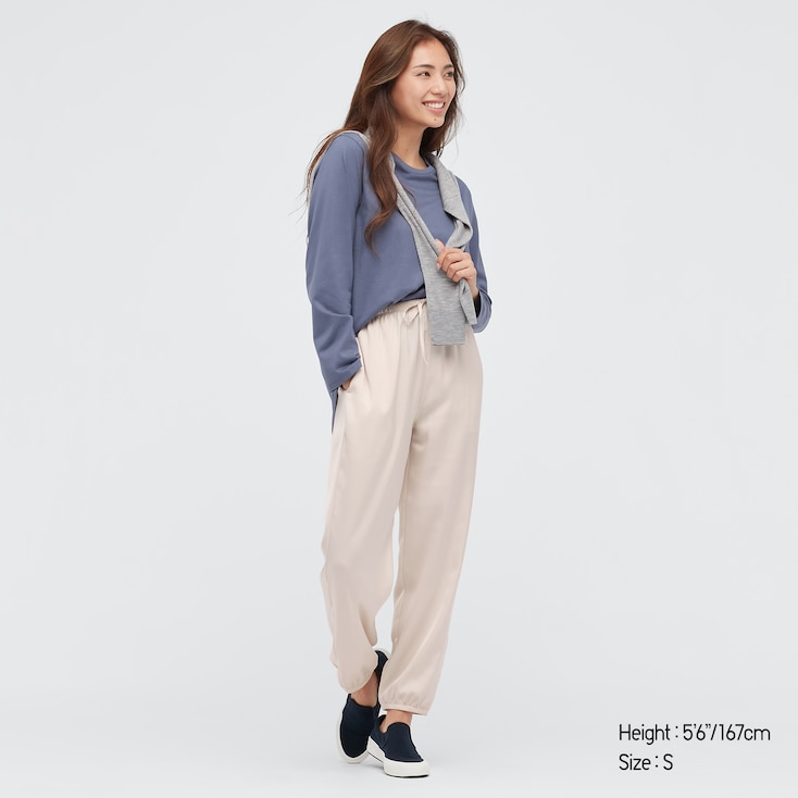 Women Satin Drape Jogger Pants, Natural, Large