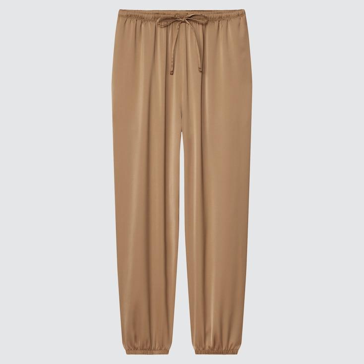 Women Satin Drape Jogger Pants, Beige, Large