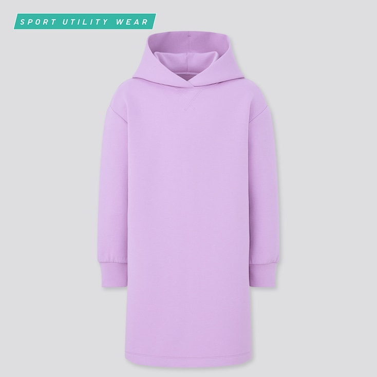 Girls Ultra Stretch Sweat Dress, Purple, Large