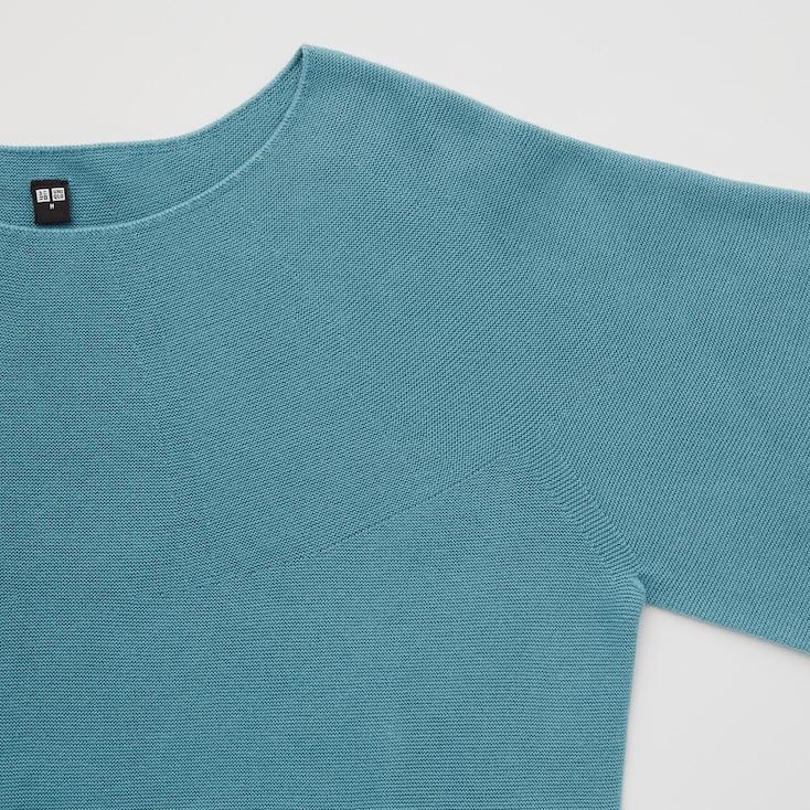 Women 3d Knit Cotton Crew Neck Sweater, Green, Large