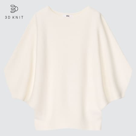 Women 3D Knit Seamless Cotton Dolman 3/4 Sleeved Jumper