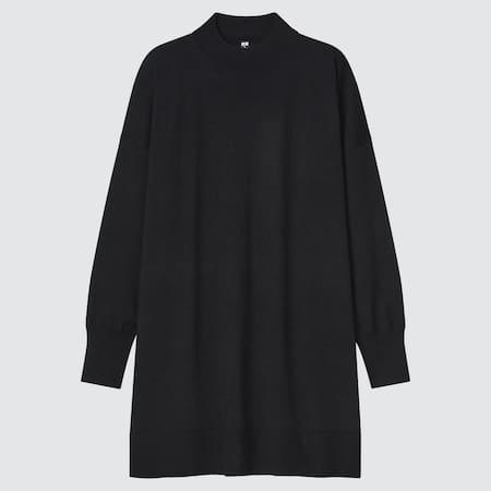 WOMEN Extra Fine Merino Blend Mock Neck Tunic Sweater