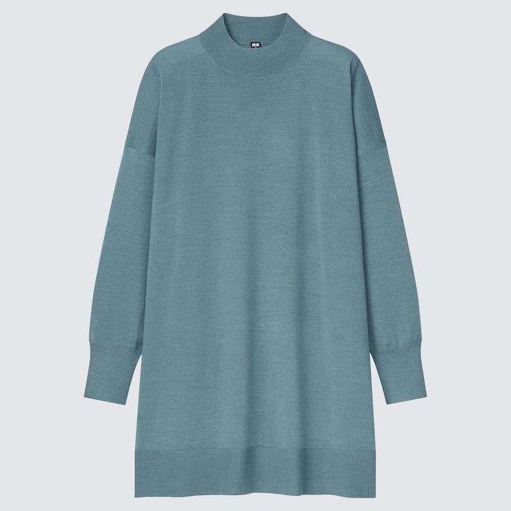 Women Extra Fine Merino Blend Mock Neck Tunic, Green, Large