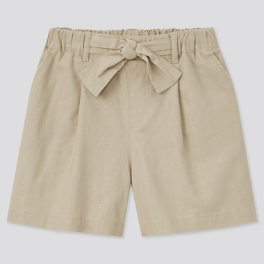 Girls Cotton Linen Belted Shorts, Beige, Medium