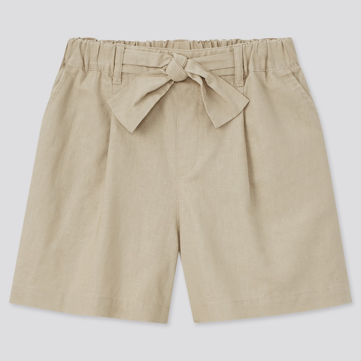 Girls Cotton Linen Belted Shorts, Beige, Large