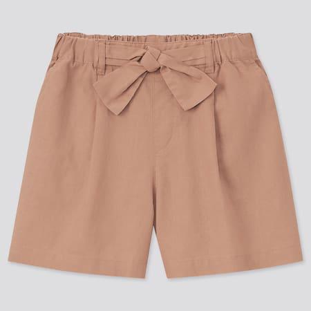 Girls Cotton Linen Belted Shorts
