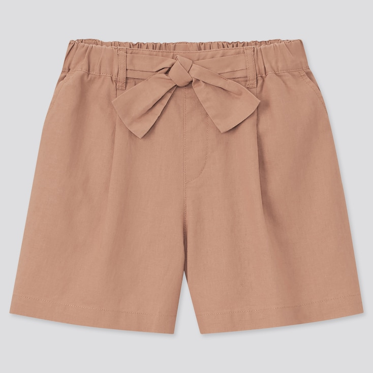 Girls Cotton Linen Belted Shorts, Brown, Large